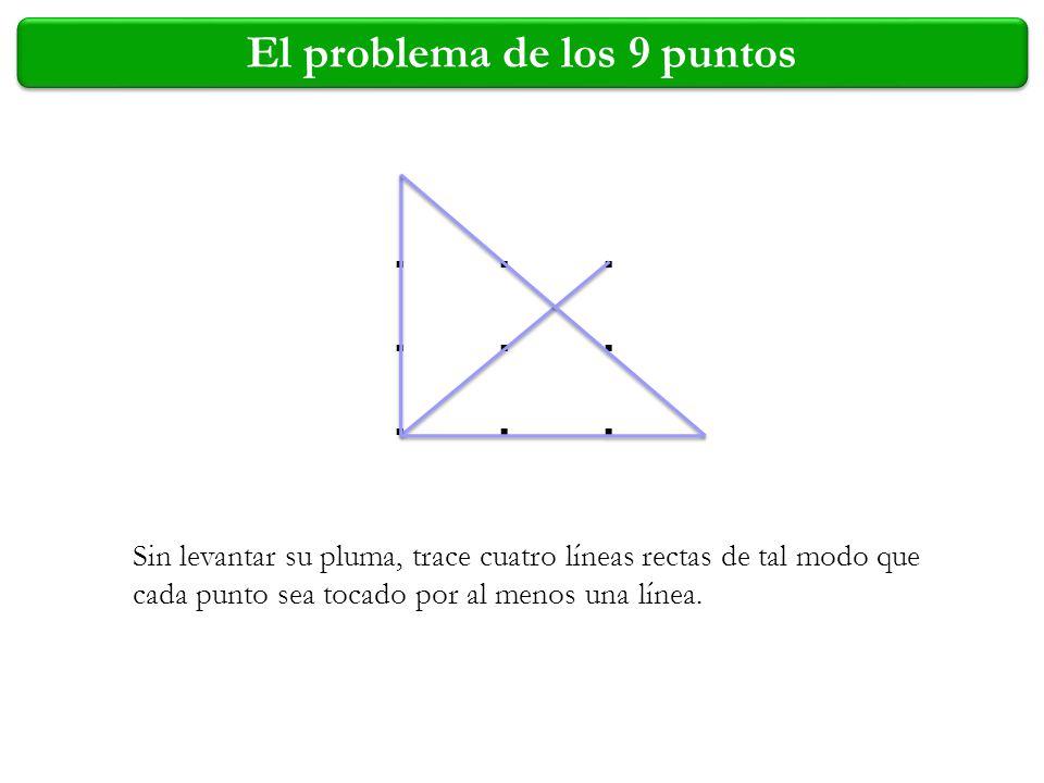 .................. Sin levantar su pluma, trace cuatro líneas rectas de tal modo que cada punto sea tocado por al menos una línea.