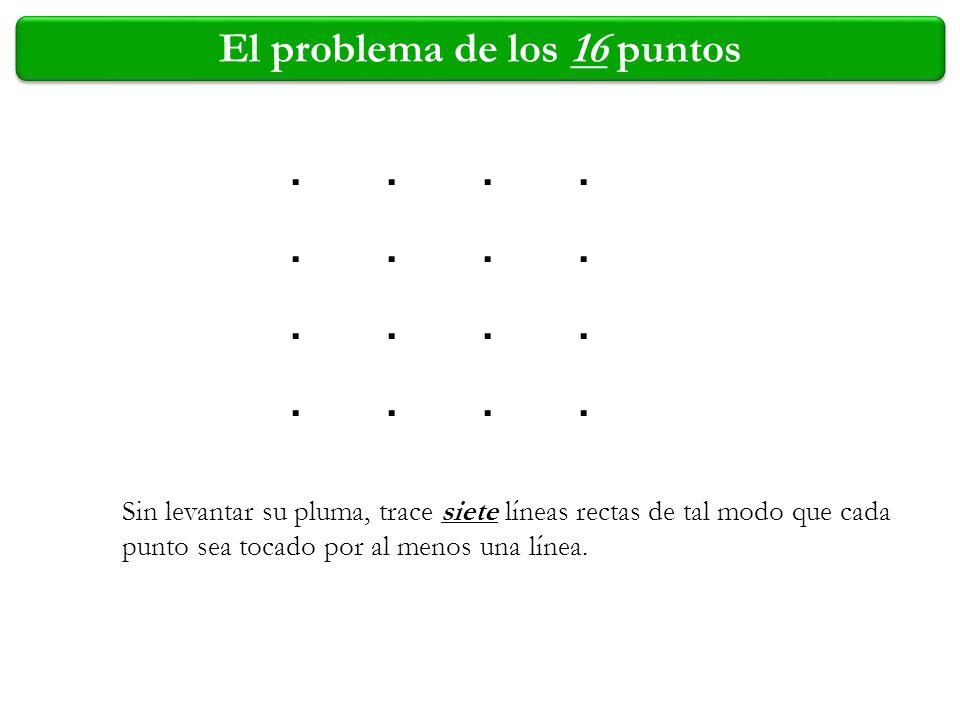 El problema de los 16 puntos Sin levantar su pluma, trace siete líneas rectas de tal modo que cada punto sea tocado por al menos una línea............
