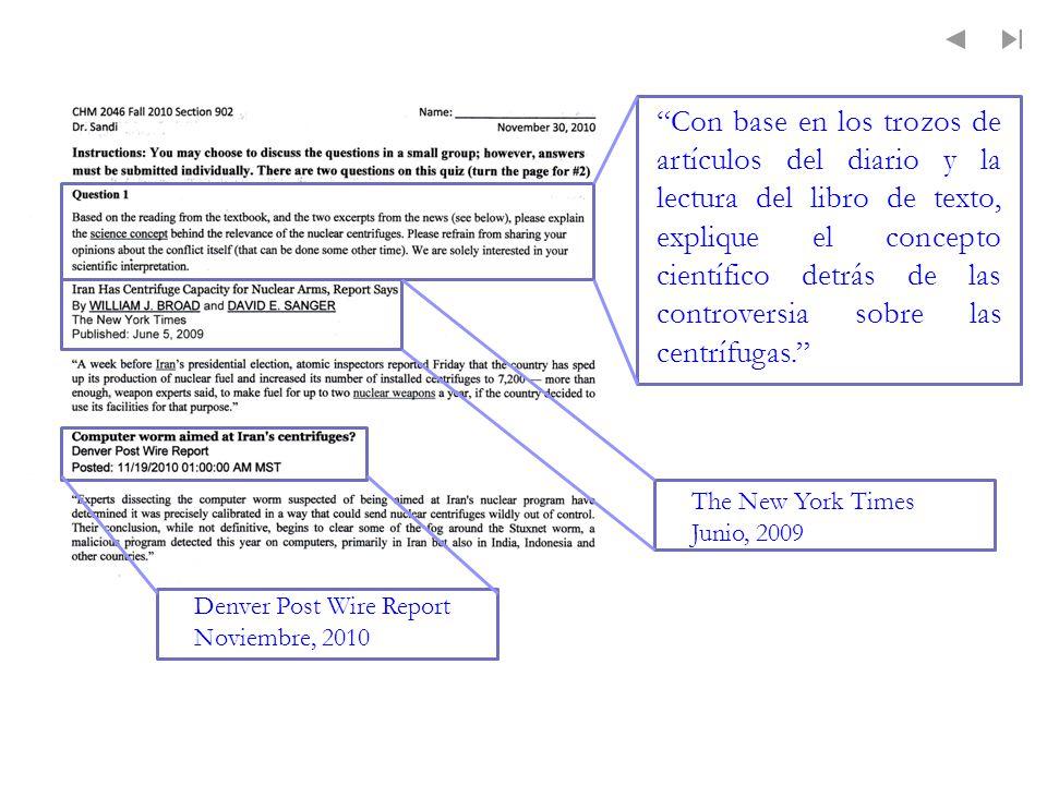 Con base en los trozos de artículos del diario y la lectura del libro de texto, explique el concepto científico detrás de las controversia sobre las c