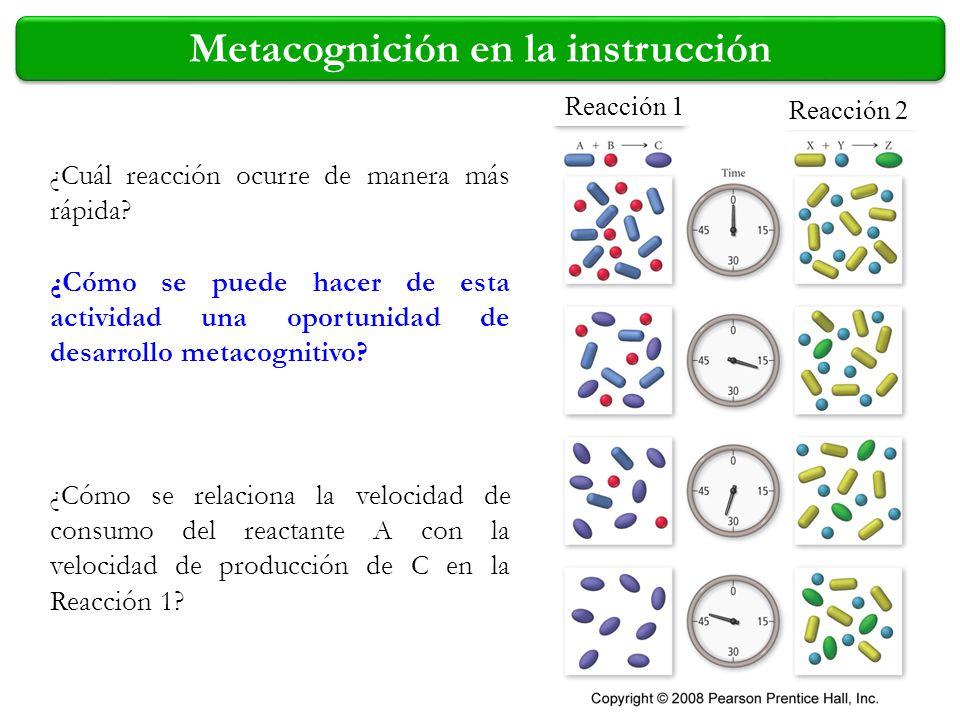 ¿Cuál reacción ocurre de manera más rápida? Reacción 1 Reacción 2 ¿Cómo se relaciona la velocidad de consumo del reactante A con la velocidad de produ