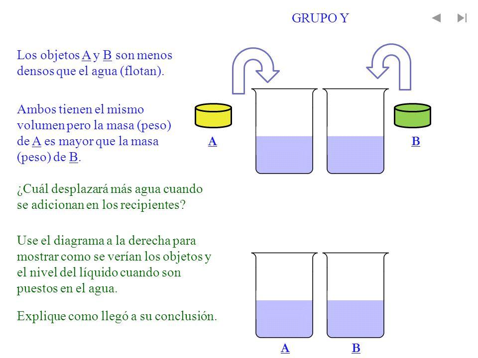 Ambos tienen el mismo volumen pero la masa (peso) de A es mayor que la masa (peso) de B. Los objetos A y B son menos densos que el agua (flotan). AB A