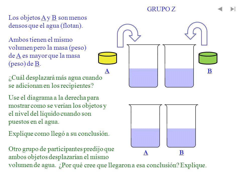 AB AB Ambos tienen el mismo volumen pero la masa (peso) de A es mayor que la masa (peso) de B. Los objetos A y B son menos densos que el agua (flotan)
