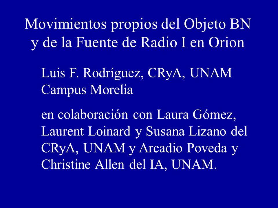 Movimientos propios del Objeto BN y de la Fuente de Radio I en Orion Luis F. Rodríguez, CRyA, UNAM Campus Morelia en colaboración con Laura Gómez, Lau