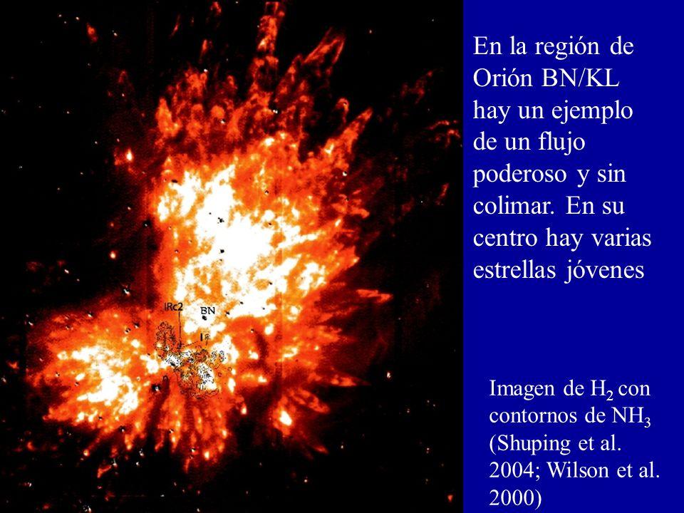 En la región de Orión BN/KL hay un ejemplo de un flujo poderoso y sin colimar. En su centro hay varias estrellas jóvenes Imagen de H 2 con contornos d
