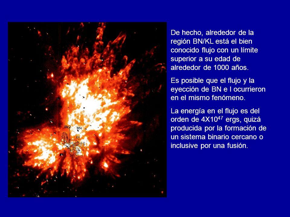 De hecho, alrededor de la región BN/KL está el bien conocido flujo con un límite superior a su edad de alrededor de 1000 años. Es posible que el flujo