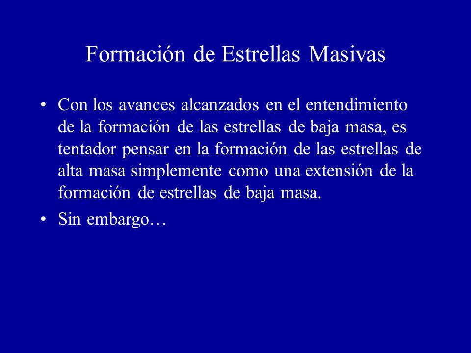 Formación de Estrellas Masivas Con los avances alcanzados en el entendimiento de la formación de las estrellas de baja masa, es tentador pensar en la