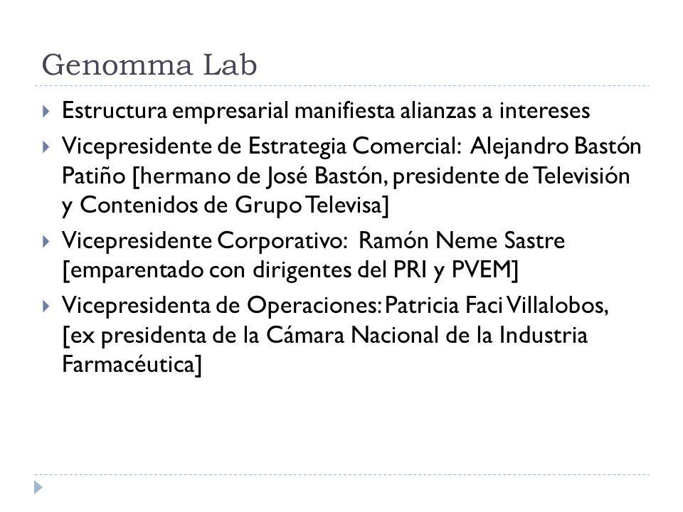 Genomma Lab Estructura empresarial manifiesta alianzas a intereses Vicepresidente de Estrategia Comercial: Alejandro Bastón Patiño [hermano de José Ba