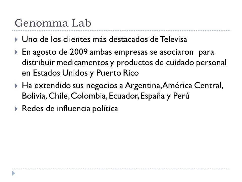 Genomma Lab Uno de los clientes más destacados de Televisa En agosto de 2009 ambas empresas se asociaron para distribuir medicamentos y productos de c