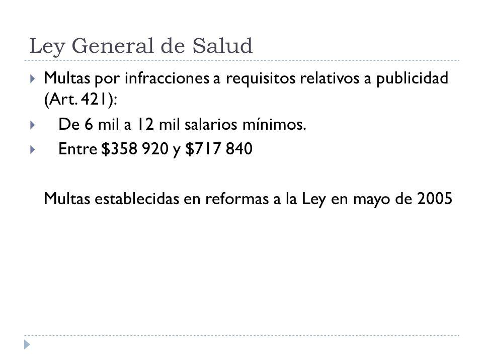 Ley General de Salud Multas por infracciones a requisitos relativos a publicidad (Art. 421): De 6 mil a 12 mil salarios mínimos. Entre $358 920 y $717