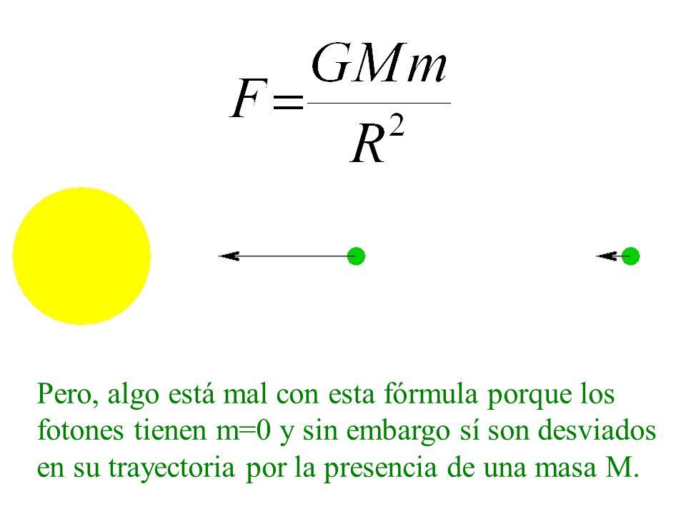 Pero, algo está mal con esta fórmula porque los fotones tienen m=0 y sin embargo sí son desviados en su trayectoria por la presencia de una masa M.