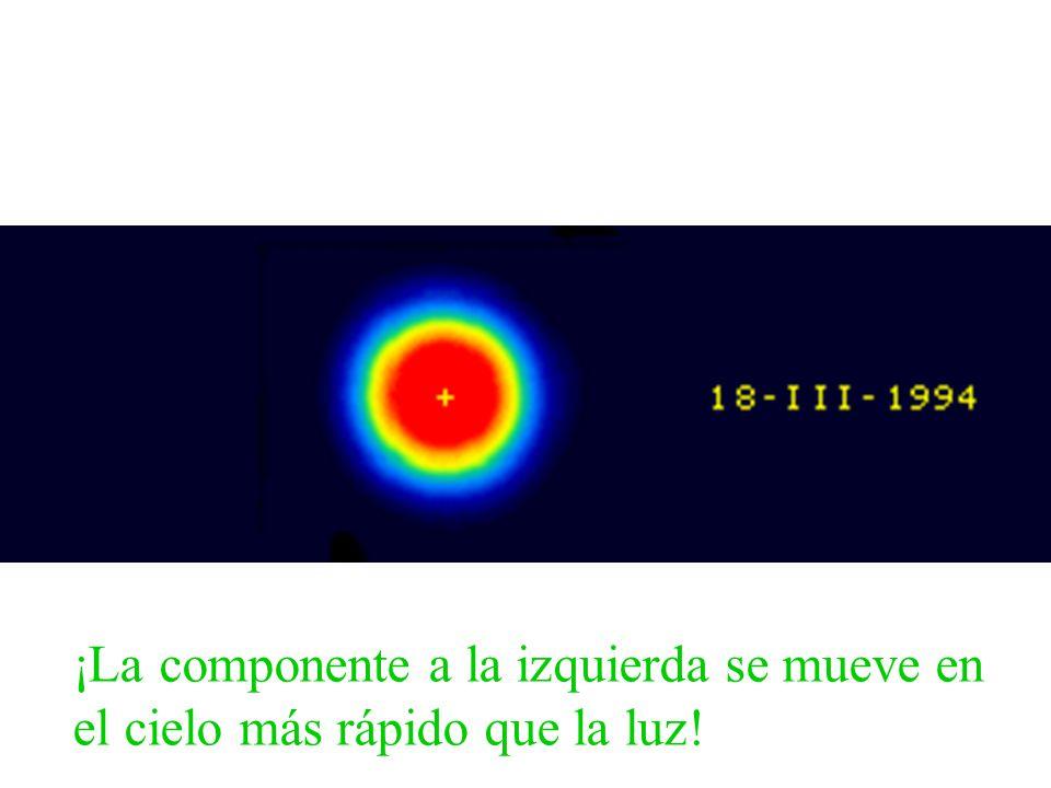 ¡La componente a la izquierda se mueve en el cielo más rápido que la luz!