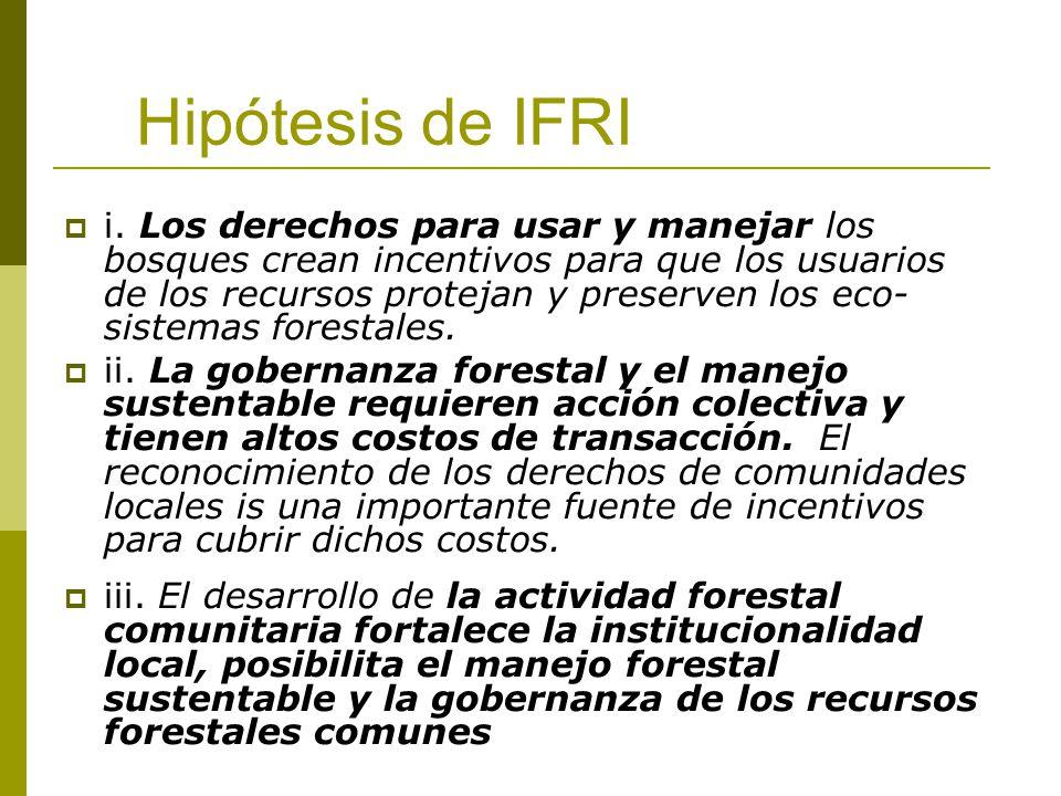 Hipótesis de IFRI i. Los derechos para usar y manejar los bosques crean incentivos para que los usuarios de los recursos protejan y preserven los eco-
