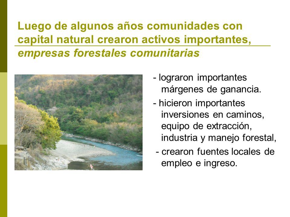 Luego de algunos años comunidades con capital natural crearon activos importantes, empresas forestales comunitarias - lograron importantes márgenes de ganancia.