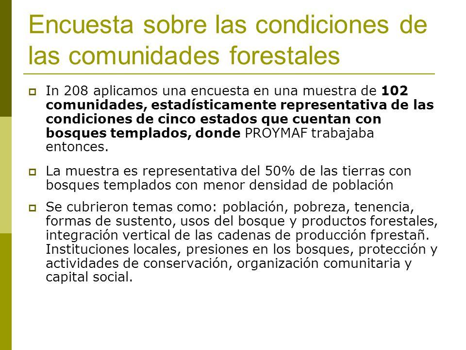 Encuesta sobre las condiciones de las comunidades forestales In 208 aplicamos una encuesta en una muestra de 102 comunidades, estadísticamente representativa de las condiciones de cinco estados que cuentan con bosques templados, donde PROYMAF trabajaba entonces.