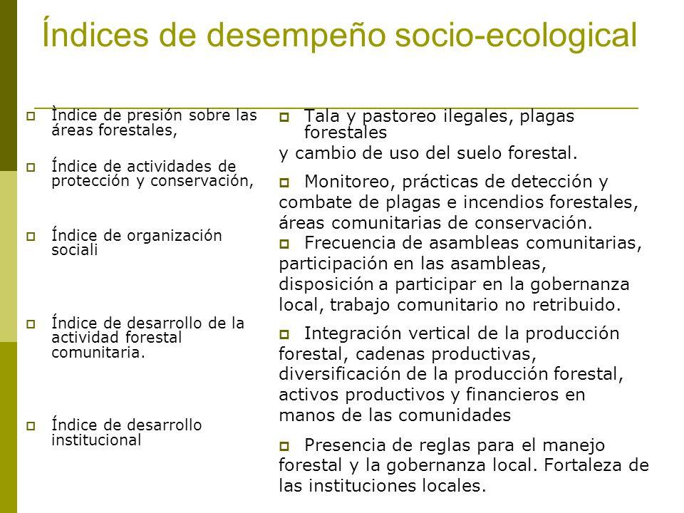 Índices de desempeño socio-ecological Ìndice de presión sobre las áreas forestales, Índice de actividades de protección y conservación, Índice de organización sociali Índice de desarrollo de la actividad forestal comunitaria.
