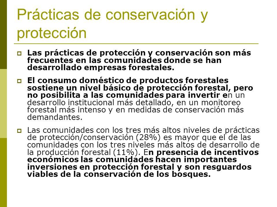 Prácticas de conservación y protección Las prácticas de protección y conservación son más frecuentes en las comunidades donde se han desarrollado empresas forestales.