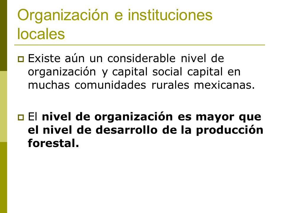 Organización e instituciones locales Existe aún un considerable nivel de organización y capital social capital en muchas comunidades rurales mexicanas.