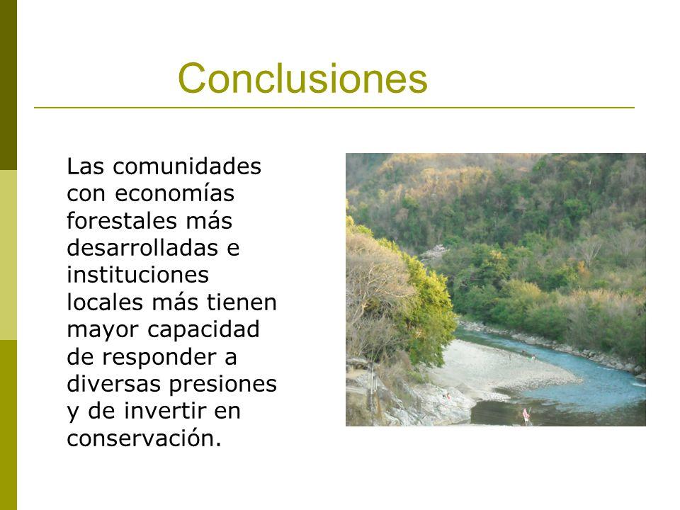 Conclusiones Las comunidades con economías forestales más desarrolladas e instituciones locales más tienen mayor capacidad de responder a diversas presiones y de invertir en conservación.