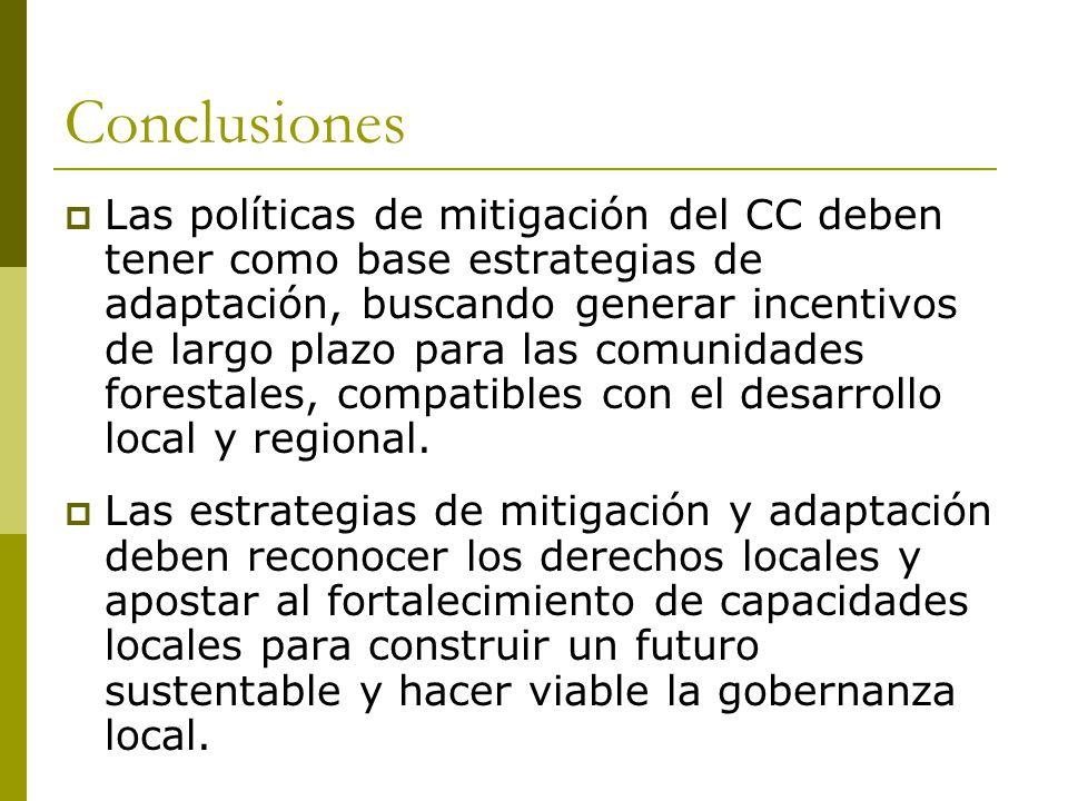 Conclusiones Las políticas de mitigación del CC deben tener como base estrategias de adaptación, buscando generar incentivos de largo plazo para las comunidades forestales, compatibles con el desarrollo local y regional.