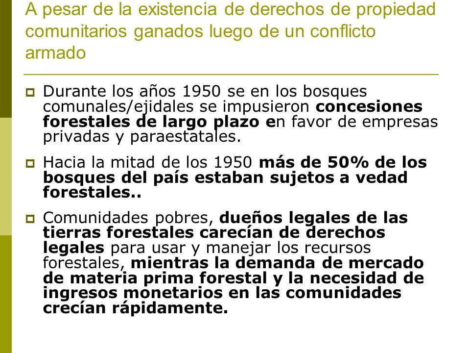 A pesar de la existencia de derechos de propiedad comunitarios ganados luego de un conflicto armado Durante los años 1950 se en los bosques comunales/ejidales se impusieron concesiones forestales de largo plazo en favor de empresas privadas y paraestatales.