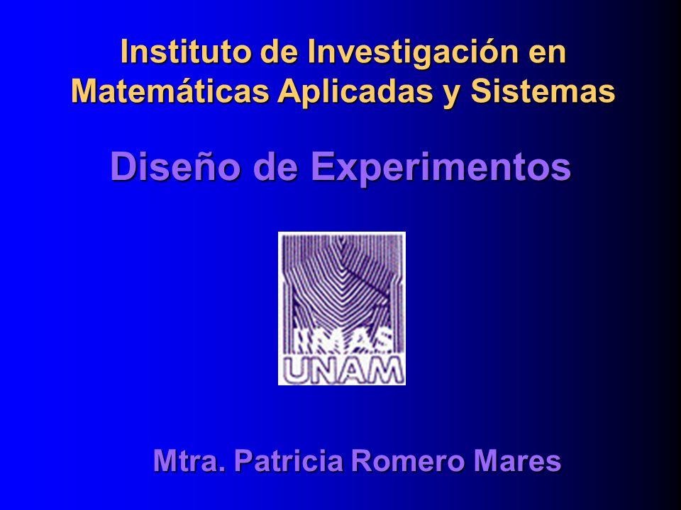 Diseño de Experimentos Mtra. Patricia Romero Mares Instituto de Investigación en Matemáticas Aplicadas y Sistemas