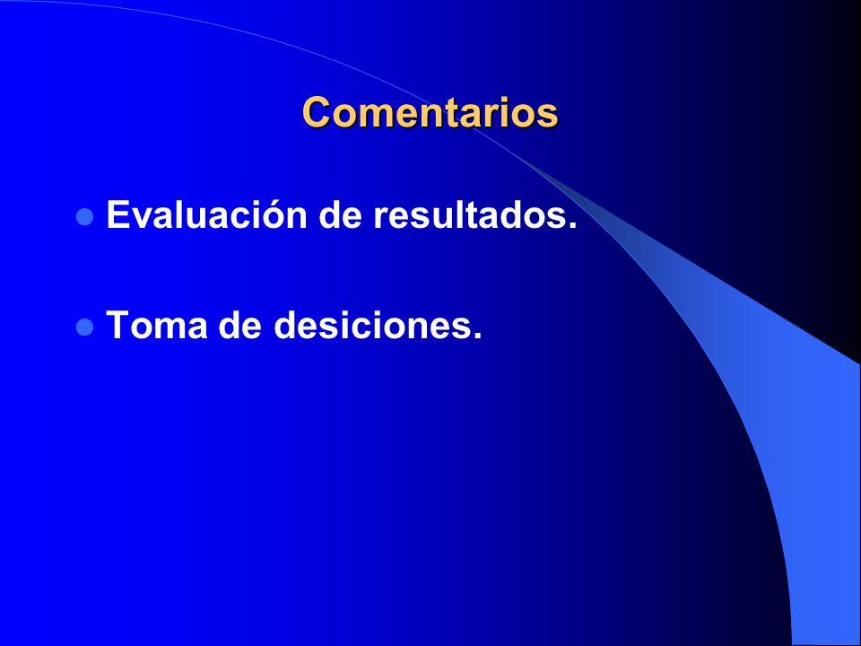 Evaluación de resultados. Toma de desiciones. Comentarios