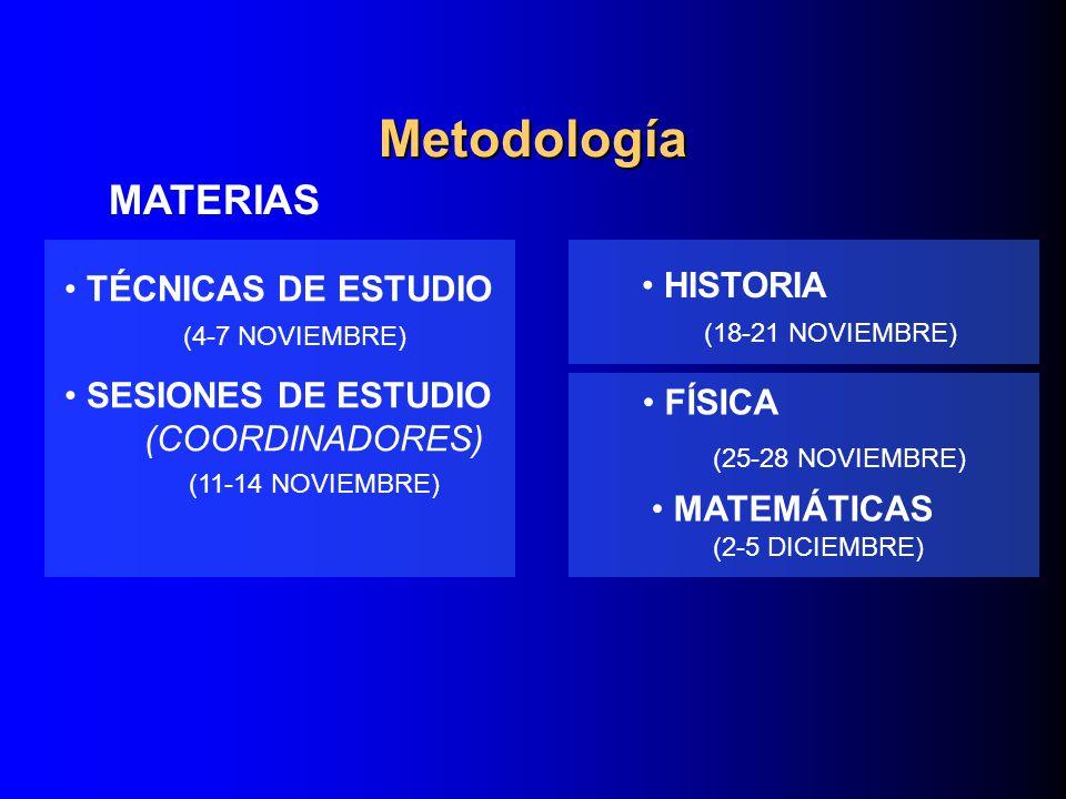 MATERIAS TÉCNICAS DE ESTUDIO (4-7 NOVIEMBRE) SESIONES DE ESTUDIO (COORDINADORES) (11-14 NOVIEMBRE) HISTORIA (18-21 NOVIEMBRE) FÍSICA (25-28 NOVIEMBRE)