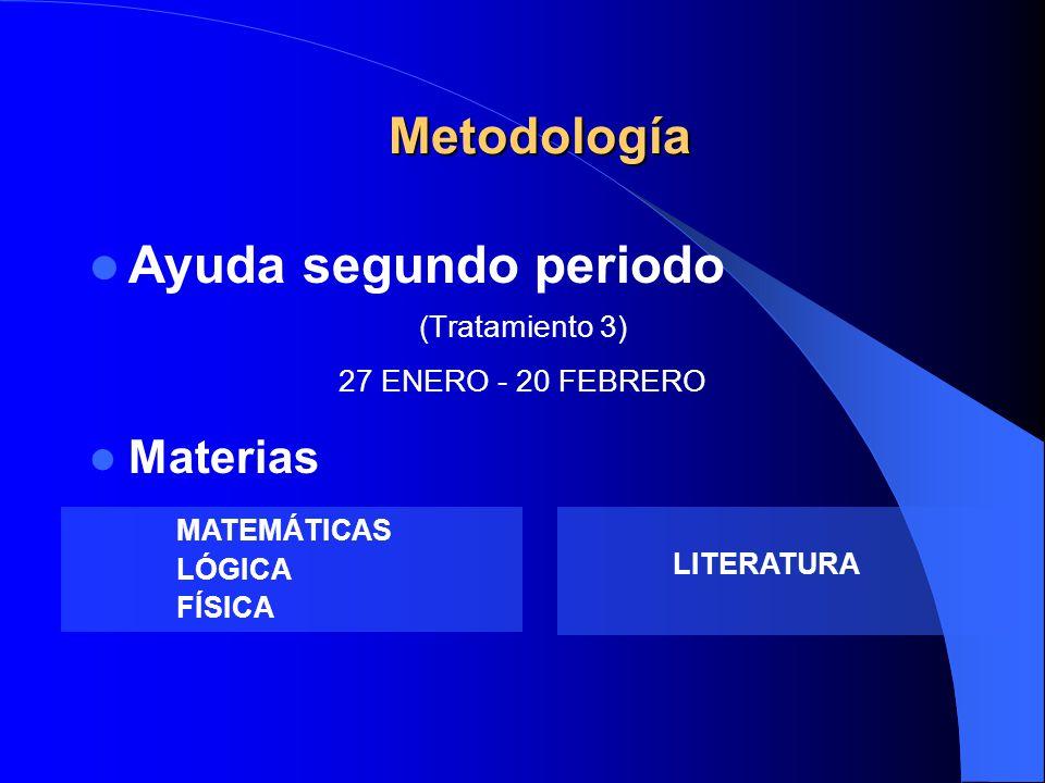 Ayuda segundo periodo (Tratamiento 3) 27 ENERO - 20 FEBRERO Materias Metodología LITERATURA MATEMÁTICAS LÓGICA FÍSICA