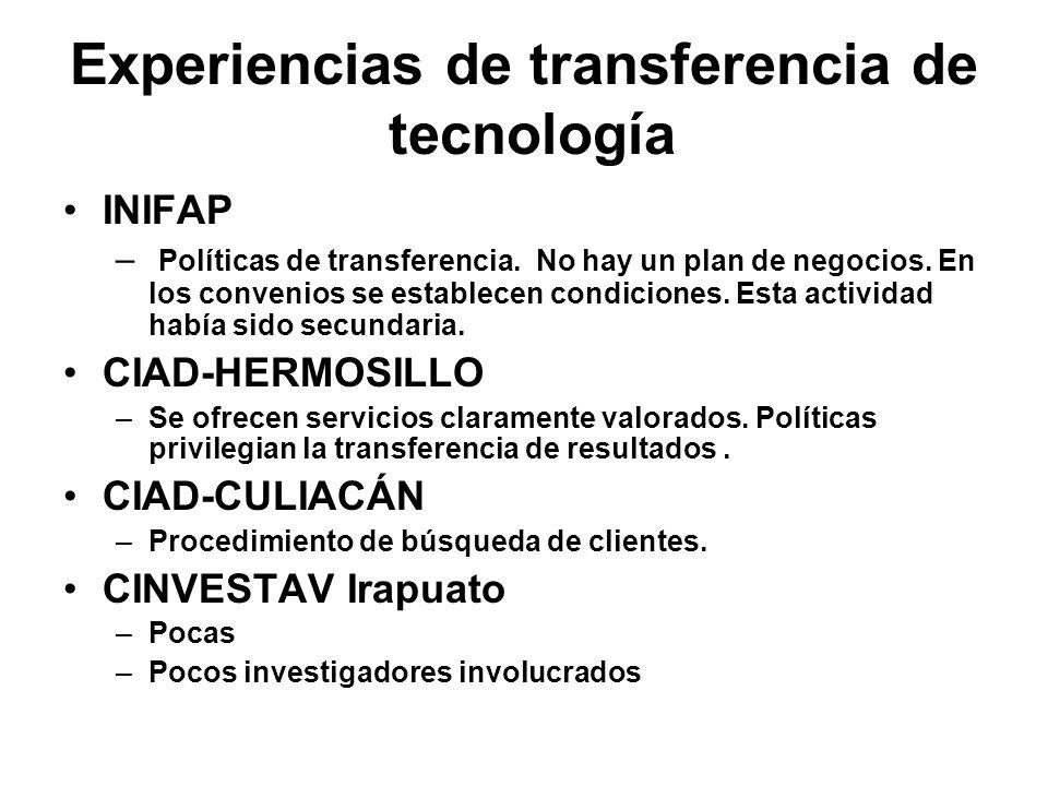 Experiencias de transferencia de tecnología INIFAP – Políticas de transferencia. No hay un plan de negocios. En los convenios se establecen condicione