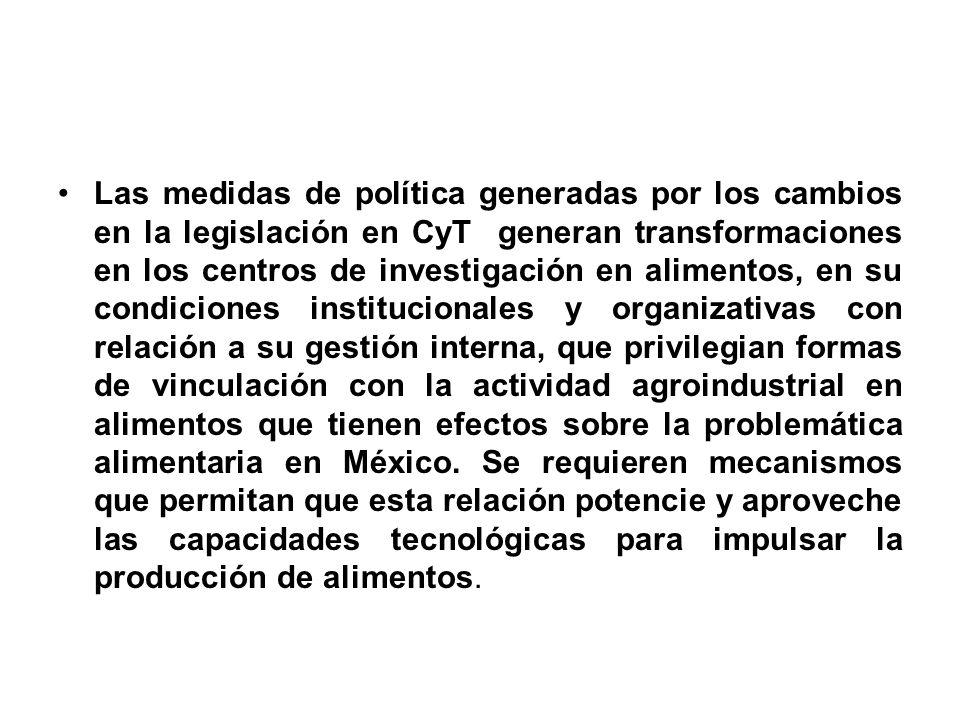 Las medidas de política generadas por los cambios en la legislación en CyT generan transformaciones en los centros de investigación en alimentos, en s