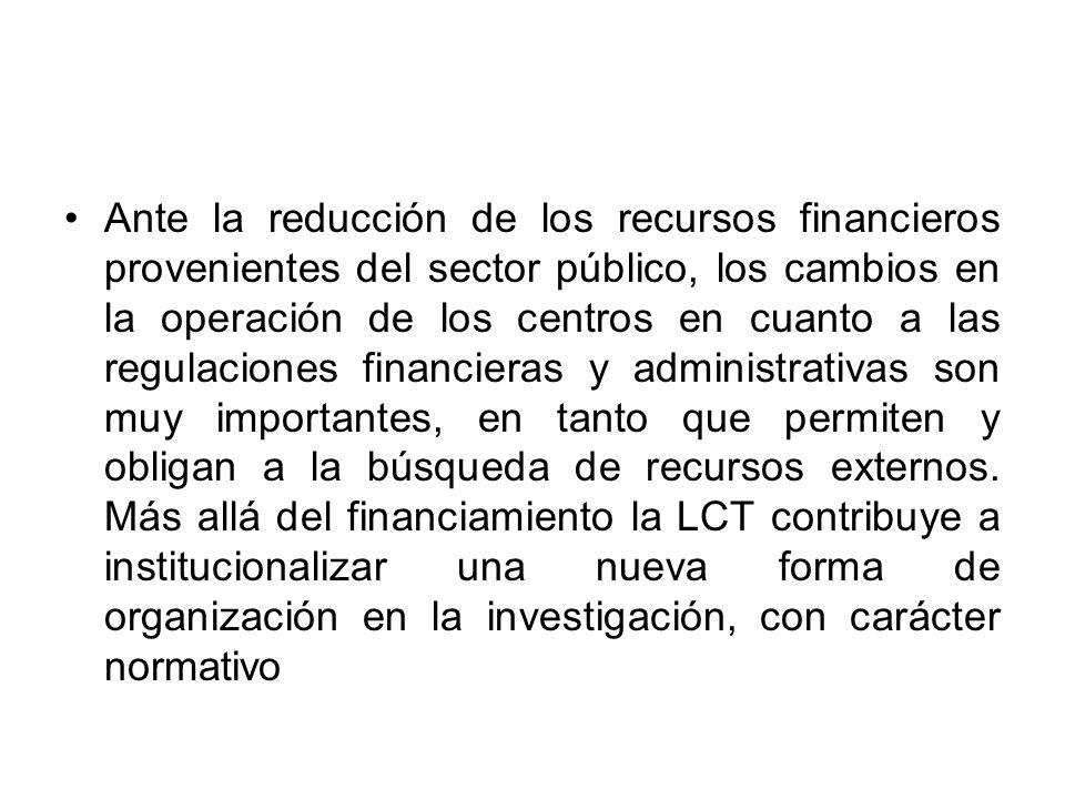 Ante la reducción de los recursos financieros provenientes del sector público, los cambios en la operación de los centros en cuanto a las regulaciones