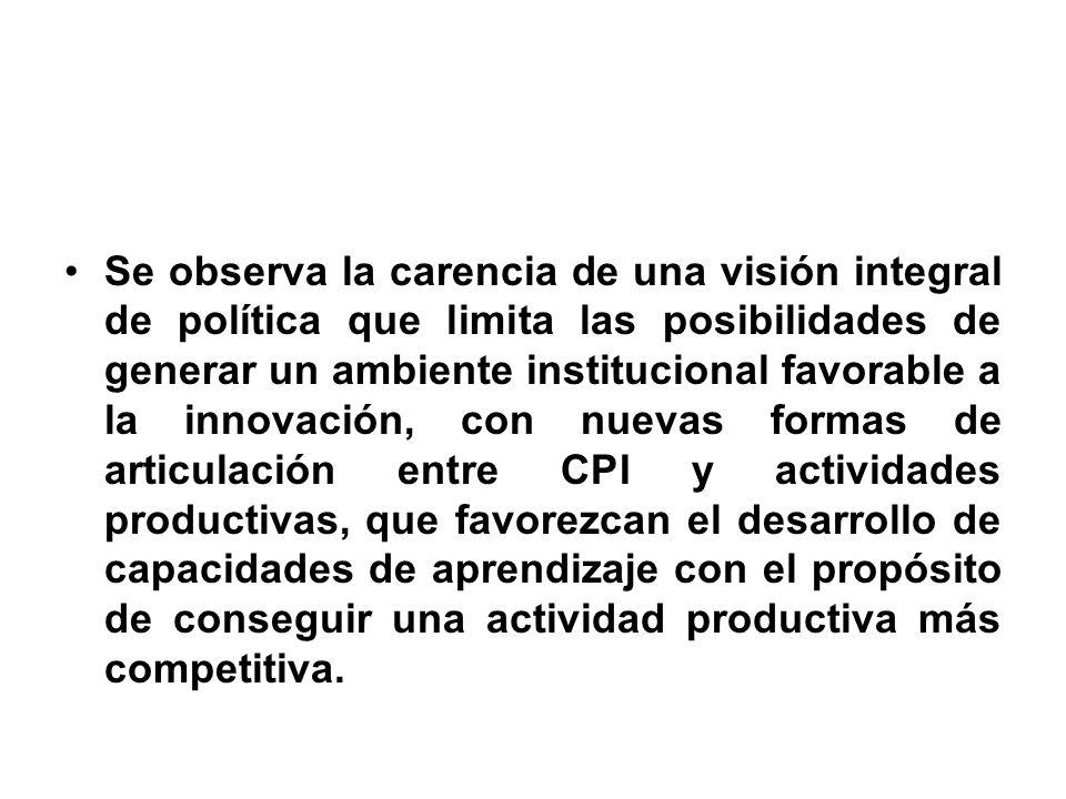 Se observa la carencia de una visión integral de política que limita las posibilidades de generar un ambiente institucional favorable a la innovación,