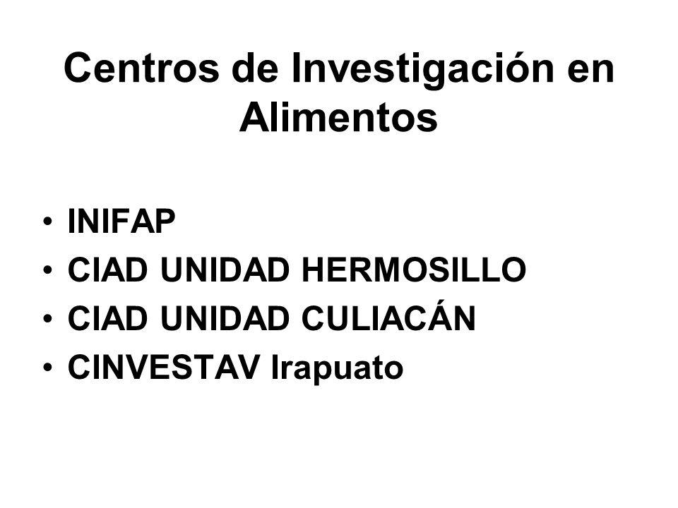 Centros de Investigación en Alimentos INIFAP CIAD UNIDAD HERMOSILLO CIAD UNIDAD CULIACÁN CINVESTAV Irapuato