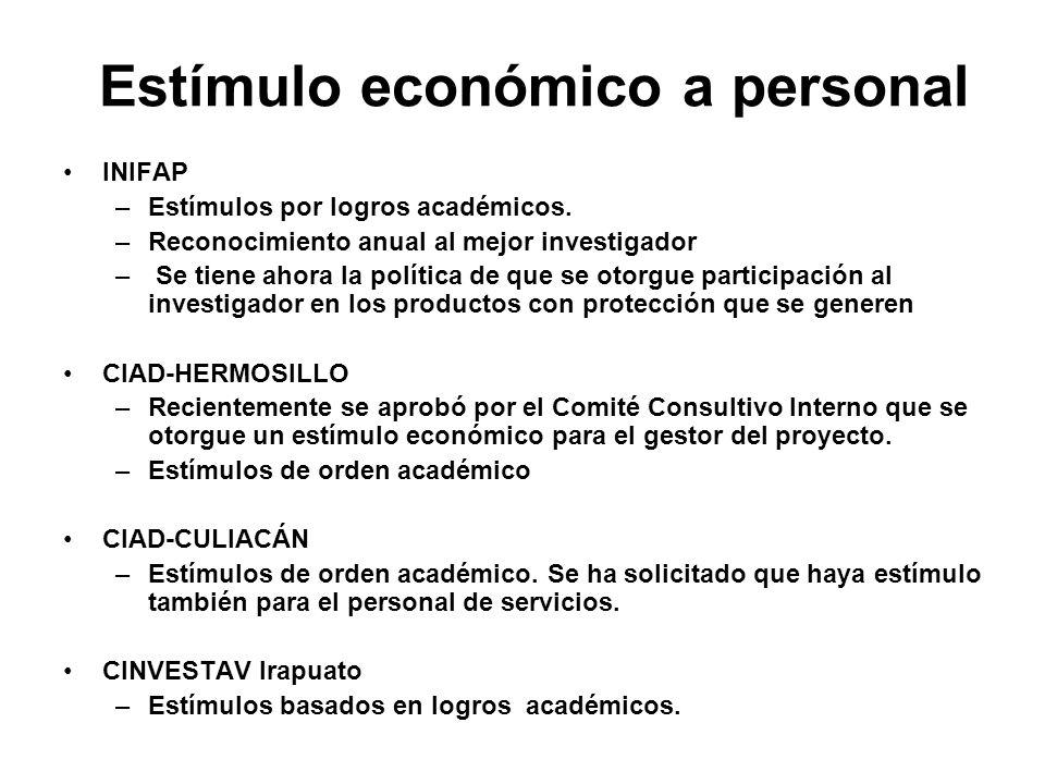 Estímulo económico a personal INIFAP –Estímulos por logros académicos. –Reconocimiento anual al mejor investigador – Se tiene ahora la política de que