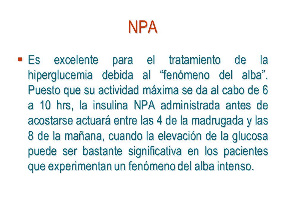 NPA Es excelente para el tratamiento de la hiperglucemia debida al fenómeno del alba. Puesto que su actividad máxima se da al cabo de 6 a 10 hrs, la i