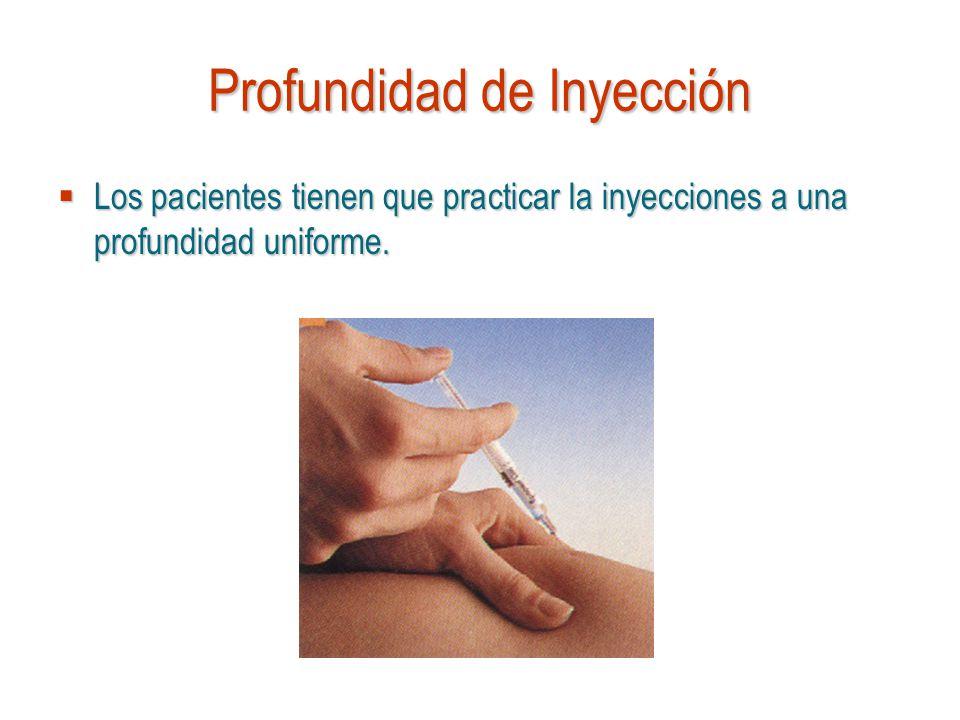 Profundidad de Inyección Los pacientes tienen que practicar la inyecciones a una profundidad uniforme. Los pacientes tienen que practicar la inyeccion