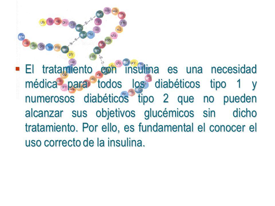 El tratamiento con insulina es una necesidad médica para todos los diabéticos tipo 1 y numerosos diabéticos tipo 2 que no pueden alcanzar sus objetivo