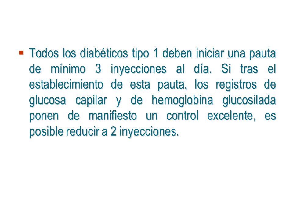 Todos los diabéticos tipo 1 deben iniciar una pauta de mínimo 3 inyecciones al día. Si tras el establecimiento de esta pauta, los registros de glucosa