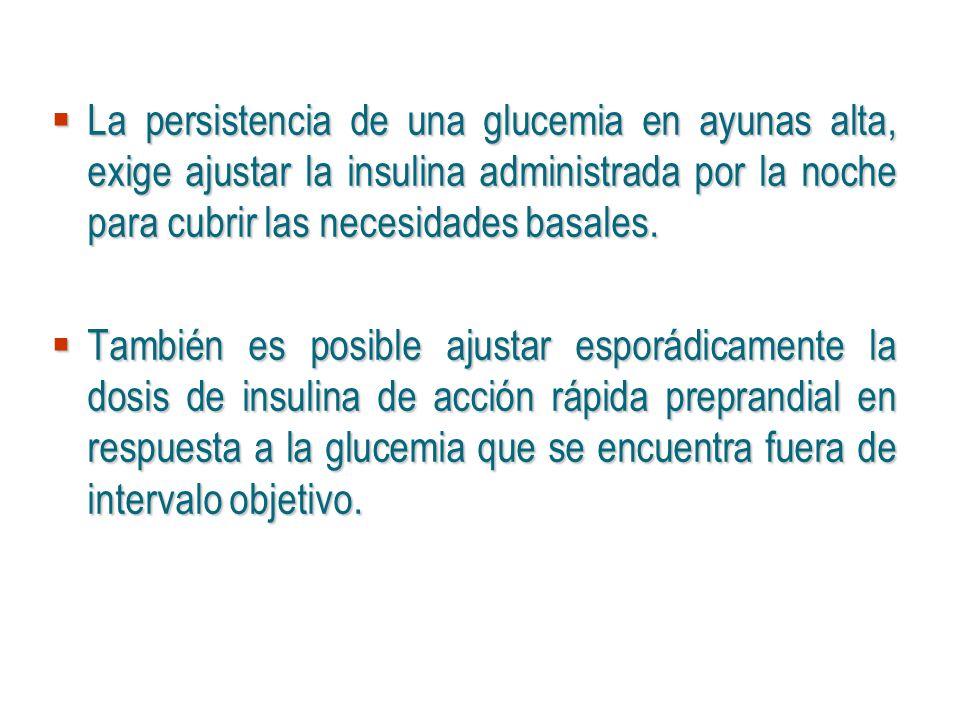 La persistencia de una glucemia en ayunas alta, exige ajustar la insulina administrada por la noche para cubrir las necesidades basales. La persistenc