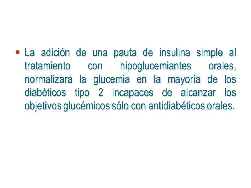 La adición de una pauta de insulina simple al tratamiento con hipoglucemiantes orales, normalizará la glucemia en la mayoría de los diabéticos tipo 2
