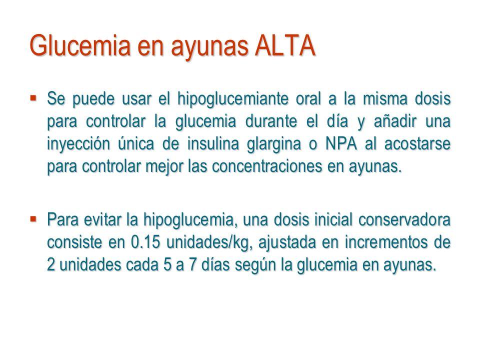 Glucemia en ayunas ALTA Se puede usar el hipoglucemiante oral a la misma dosis para controlar la glucemia durante el día y añadir una inyección única