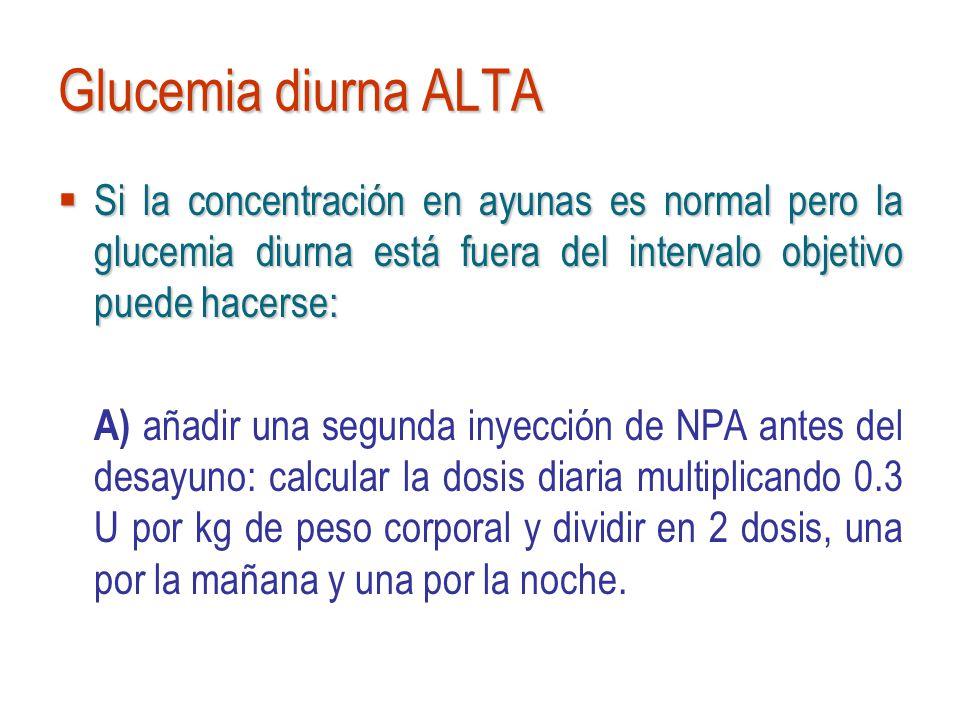 Glucemia diurna ALTA Si la concentración en ayunas es normal pero la glucemia diurna está fuera del intervalo objetivo puede hacerse: Si la concentrac
