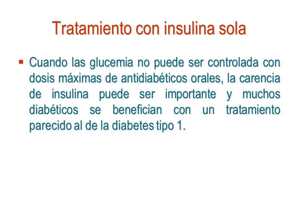 Tratamiento con insulina sola Cuando las glucemia no puede ser controlada con dosis máximas de antidiabéticos orales, la carencia de insulina puede se