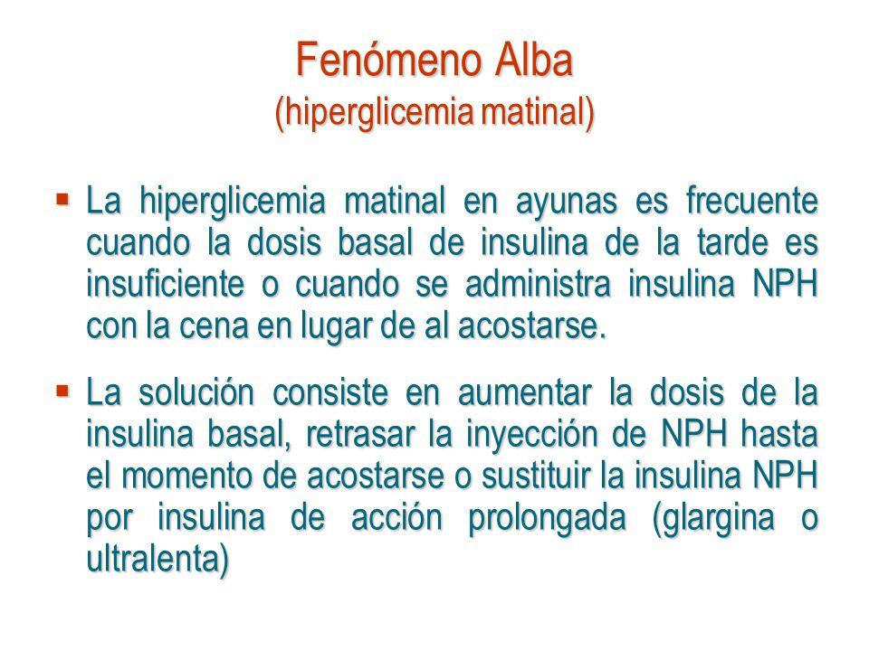 Fenómeno Alba (hiperglicemia matinal) La hiperglicemia matinal en ayunas es frecuente cuando la dosis basal de insulina de la tarde es insuficiente o