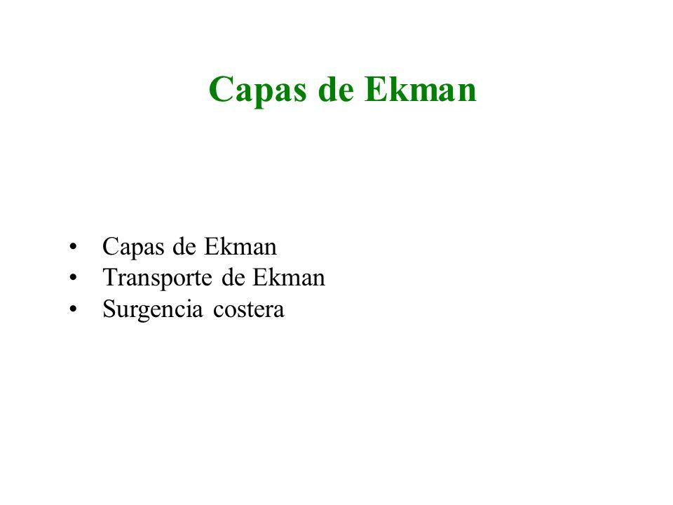 Capas de Ekman Transporte de Ekman Surgencia costera