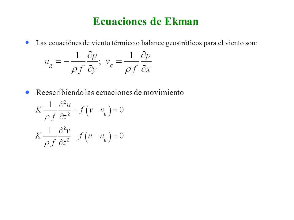 Condiciones de frontera (atmósfera) Las condiciones de frontera para la superficie y la atmósfera : u = 0 y v = 0 en z = 0 (para una capa de Ekman ideal), y u u g y v v g en la atmósfera fuera de la capa de Ekman.