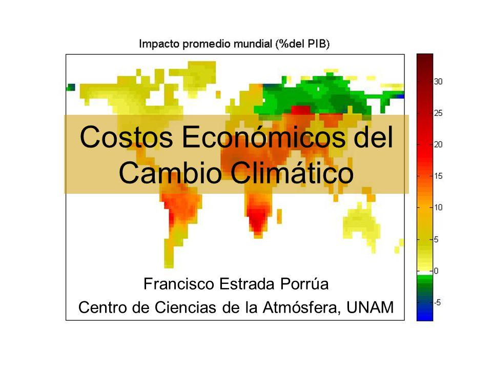 Emisiones-Cambio Climático- Impactos Cambio de uso del suelo Emisiones Aumento en las concentraciones atmosféricas de gases de efecto invernadero (medido en CO2 equivalente) Forzamiento radiativo (cambio en el balance de energía) Cambios en el sistema clima Aumento en las temperaturas atmosféricas y oceánicas (con rezago) Aumento en el nivel del mar Cambios en patrones y variabilidad de precipitación Derretimiento de glaciares y hielo oceánico Impactos en sistemas físicos, biológicos y humanos Retroalimentaciones: ej.