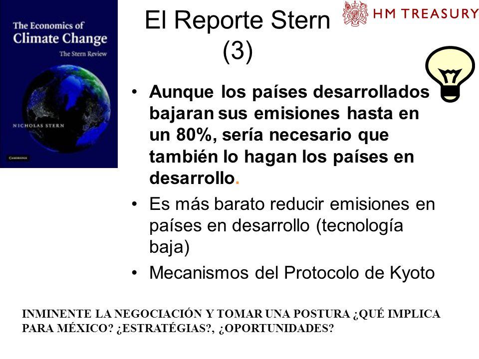 El Reporte Stern (3) Aunque los países desarrollados bajaran sus emisiones hasta en un 80%, sería necesario que también lo hagan los países en desarro