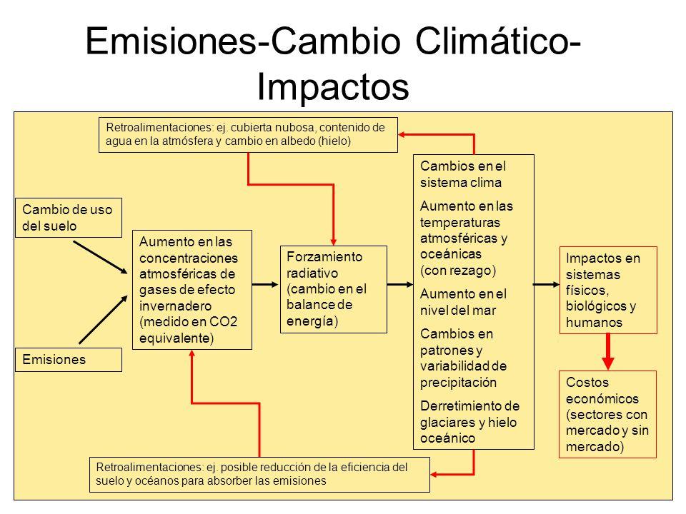 Escenarios de emisiones y temperatura global para el siglo actual AR4 IPCC, 2007 6.4ºC 1.8ºC Eventos extremos (lluvias torrenciales, sequías, ondas de calor, etc.) más frecuentes y posiblemente más intensos Ciclones tropicales más intensos Aumento en el nivel del mar entre 0.18 y 0.54 Aumento en precipitación en latitudes altas y disminución en los subtrópicos