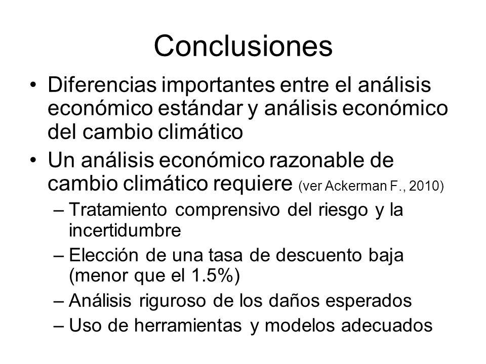 Conclusiones Diferencias importantes entre el análisis económico estándar y análisis económico del cambio climático Un análisis económico razonable de